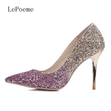 Shallow Mouth Mixed Colors 9.5 cm Glitter Shoes Thin Heels Pointed Toe Burgundy Silver Golden Pump High Quality Large Size Pumps