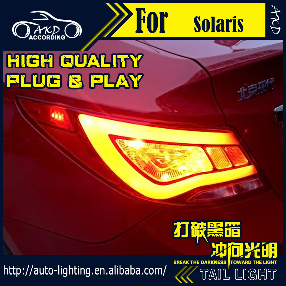 AKD Car Styling Tail Lamp for Hyundai Accent Tail Lights Solaris LED Tail Light LED Signal LED DRL Stop Rear Lamp Accessories hyundai accent hatchback ii бу москва