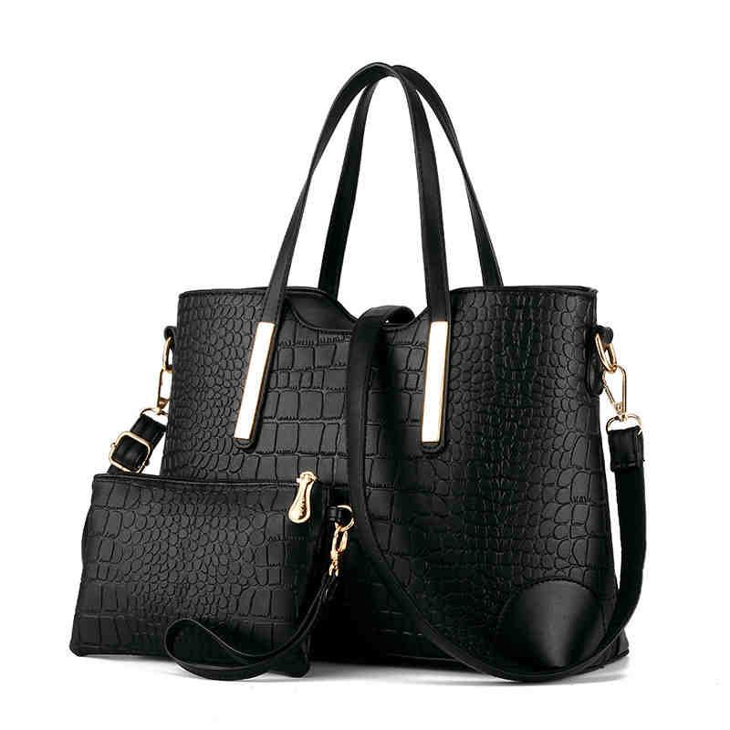 2017 2 Sets Messenger Bags+Purse Women Large Handbags Crocodile Leather Handbag Ladies Brand Design Bag Big Shoulder bags