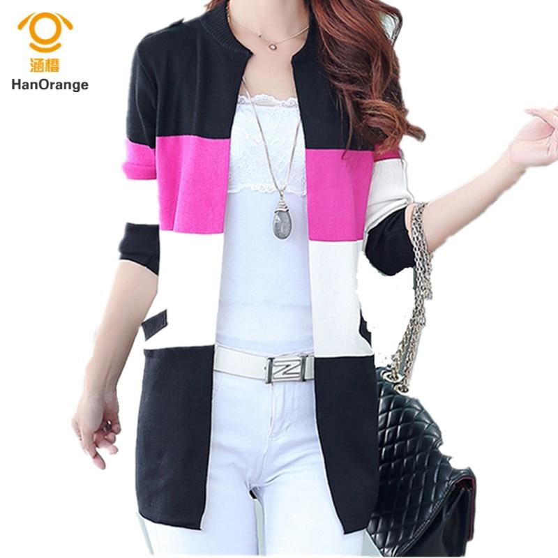 HanOrange HanOrange 2017 Autumn New Korean Women Fashion O-Neck Cardigan Long Sweater Black/Pink/Red/Sky Blue S-3XL Plus Size