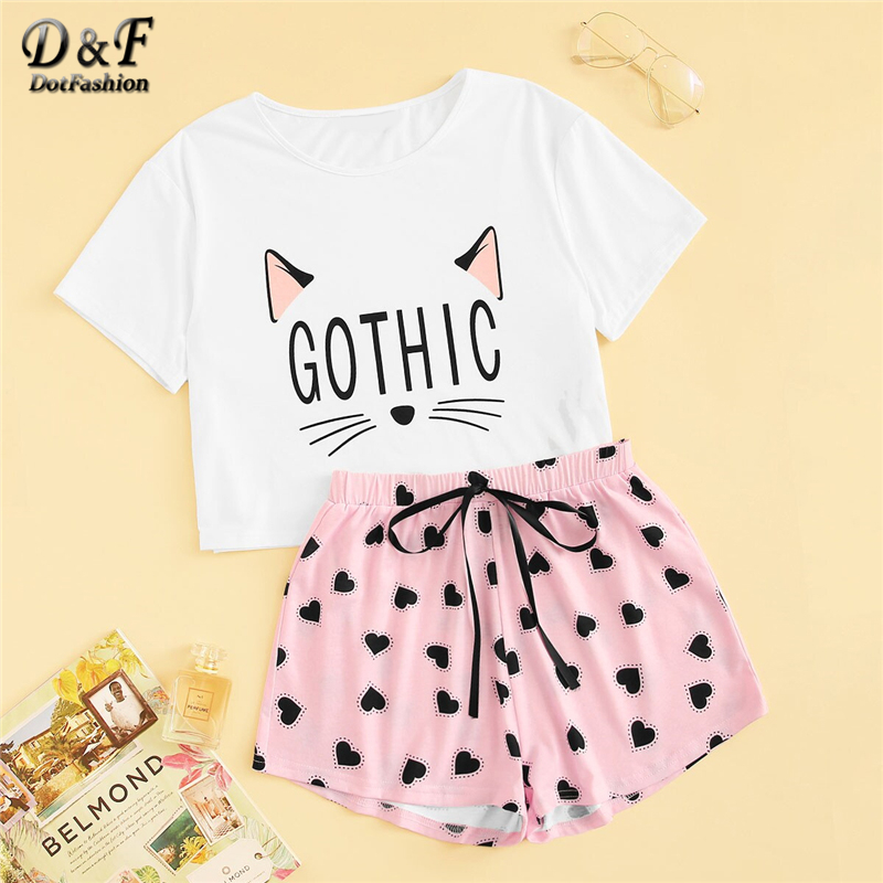 Dotfashion Cartoon Cat And Letter Print Tee With Heart Shorts PJ Set 2019 Summer Pajamas For Women Casual Short Sleeve Sleepwear-in Pajama Sets from Underwear & Sleepwears