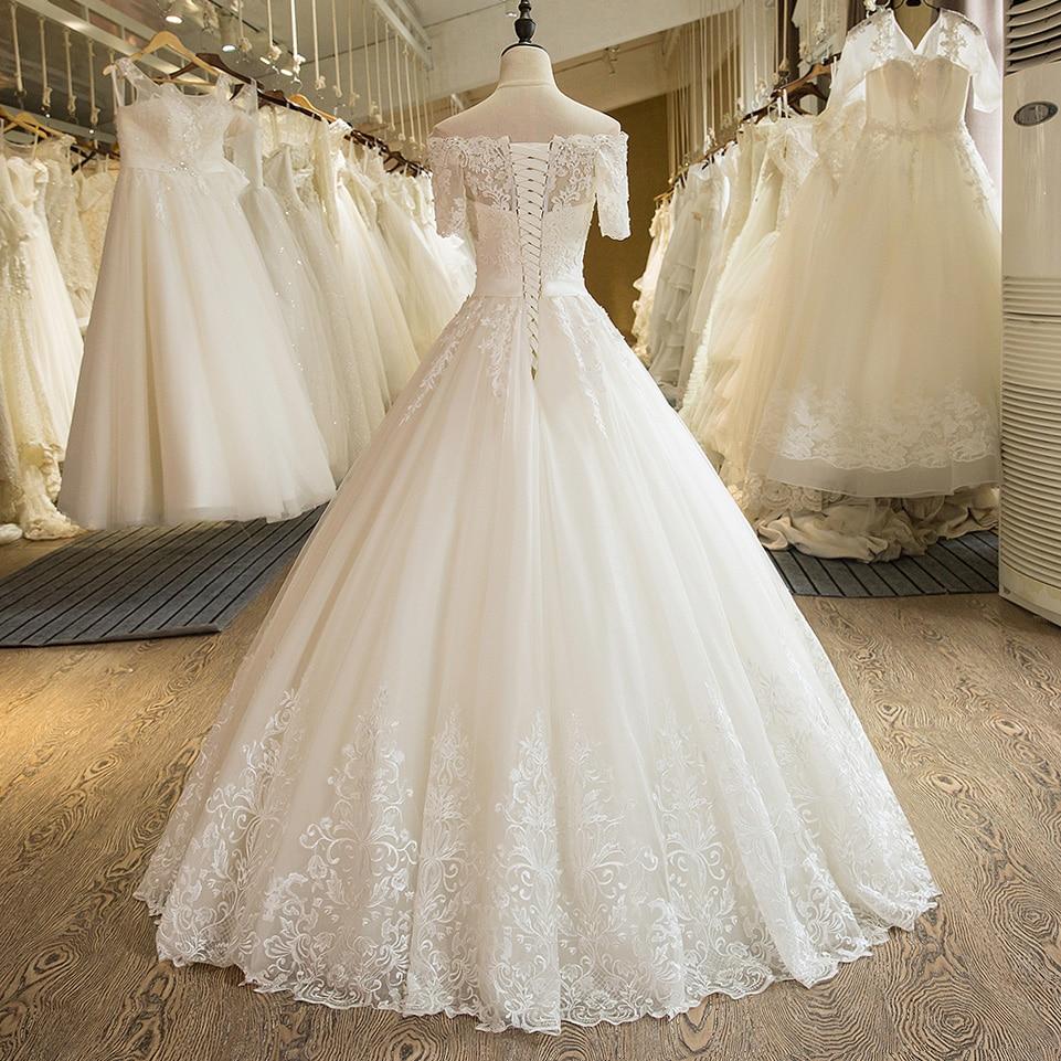 Image 2 - SL 5 Charming A Line Short Sleeve Tulle Lace Appliques Vintage Boho Wedding Dressvintage boho wedding dressboho wedding dresswedding dress -