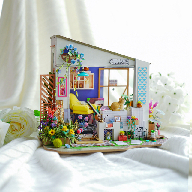 Robotime New DIY Lily's Porch with Furniture Children Adult Miniature Wooden Doll House Model Building Kits Dollhouse Toy DG11