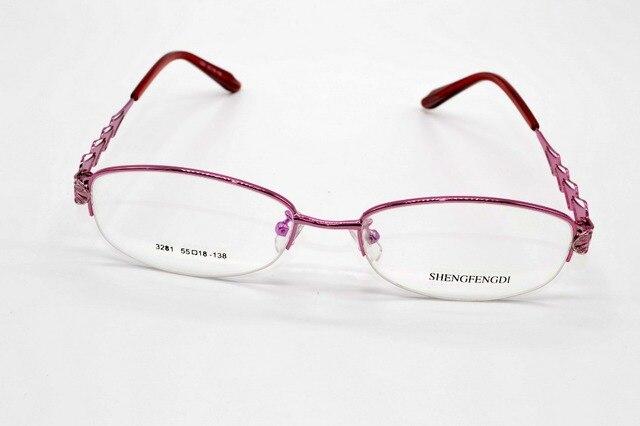 Мода SEMI-RIM титанового сплава розовые дамы очки на заказ оптический близорукость и очки для чтения объектив + 1 + 1.5 + 2 + 2.5TO + 8
