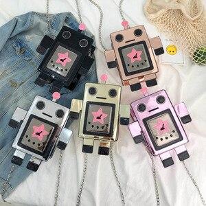 Image 2 - クリエイティブレーザーロボットカラフルな女性のための女性の人格デザインチェーンクロスボディバッグレディース夏電話財布バッグ