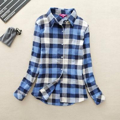 2017 hot sprzedaż jesień zima panie kobieta casual cotton lapel bluzka bluzki z długim rękawem kratę koszula kobiet szczupła odzieży wierzchniej clothing 29