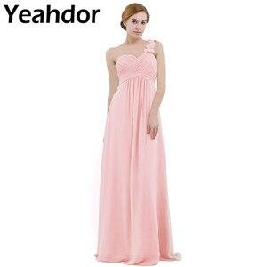 Image 1 - Femmes dames longue robe de demoiselle dhonneur en mousseline de soie une épaule plissée dentelle taille haute étage longueur robe de mariage fête robe de bal