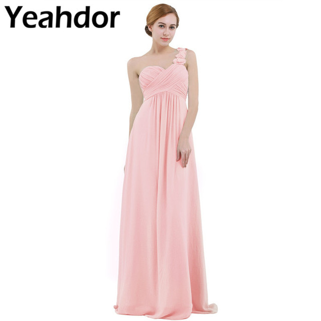 Women Ladies Long Bridesmaid Dress Chiffon One shoulder Pleated Lace High waist Floor Length Dress Wedding Party Prom Gown