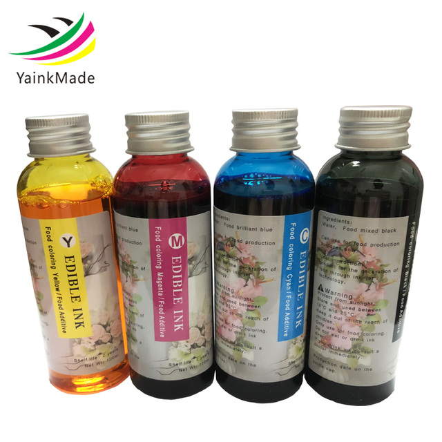 US $37 75 14% OFF|4PCS/Lot 100ML Edible Ink for HP for CANON for EPSON for  BROTHER Desktop Inkjet Printer For Cake Food Chocolate BK C M Y-in Ink
