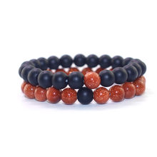 2018 Fashion Couple Bracelet 8mm Black White Natural Lava Stones Beads Beaded Bracelets Bangles for Men Women Jewelry Pulseras(China)