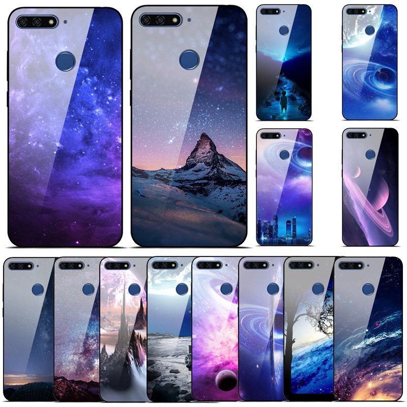 For Huawei <font><b>Honor</b></font> <font><b>9</b></font> <font><b>Lite</b></font> Case Tempered Glass Space Back Phone Case <font><b>Bumper</b></font> For Huawei <font><b>Honor</b></font> 10 Cover on <font><b>Honor</b></font> 7A 7C Pro 7X Case image