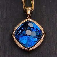 gemstone jewelry wholesale SGARIT brand classic luxury square 18k rose gold 18.2ct natural blue topaz charm pendant necklace