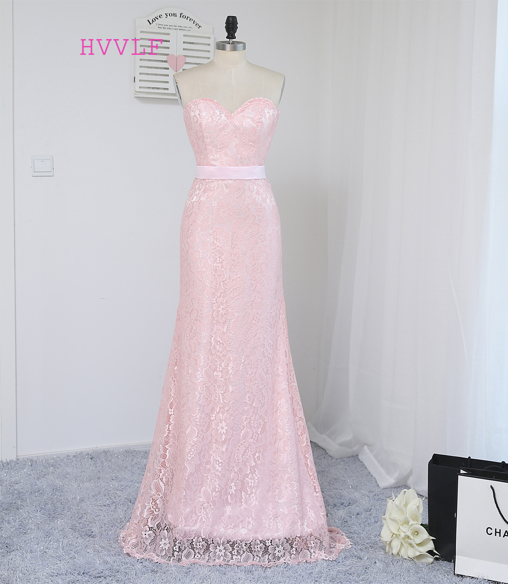 HVVLF 2019 Billiga brudtärna klänningar under 50 Mermaid Sweetheart Golvlängd Rosa Sash Lace Wedding Party Dresses