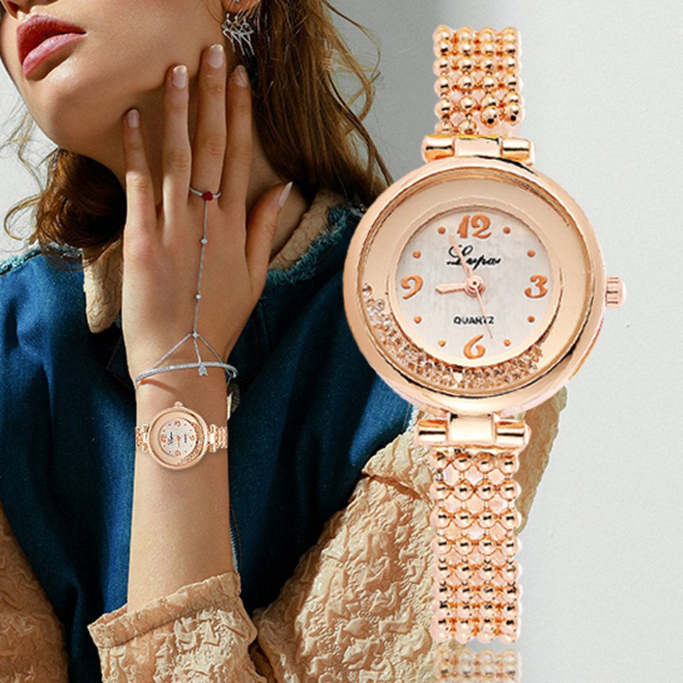 New Lvpai Fashion Brand Round Crystal Women Bracelet Watch Rose Gold Quartz Wristwatches Women Dress Watches Clock