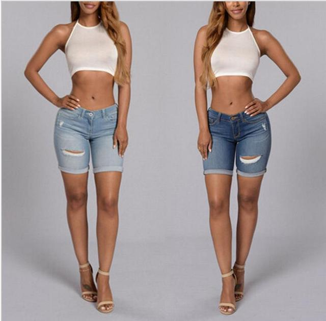 3f99e032d977c Plus Size Skinny Capris Jeans Women Female Stretch Knee Length Denim Shorts  Jeans For Woman Pants Summer S-2XL