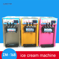 1PC 3 Flavors Ice cream machine Small soft Ice cream maker Desktop Stainless steel Yogurt machine ZM-168 110V/220V 1200W power