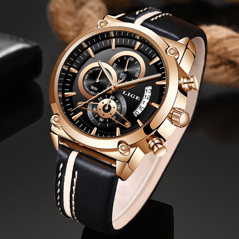 LIGE Watch Top Brand Man Watches With Chronograph Sport Waterproof Clock Man Watches Military Luxury Men's Watch Analog Quartz
