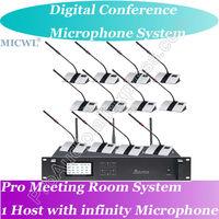 World Class Digital Wireless Gooseneck Mic Microphone Conference Meeting Room System Host + President + Delegates Desk Unit