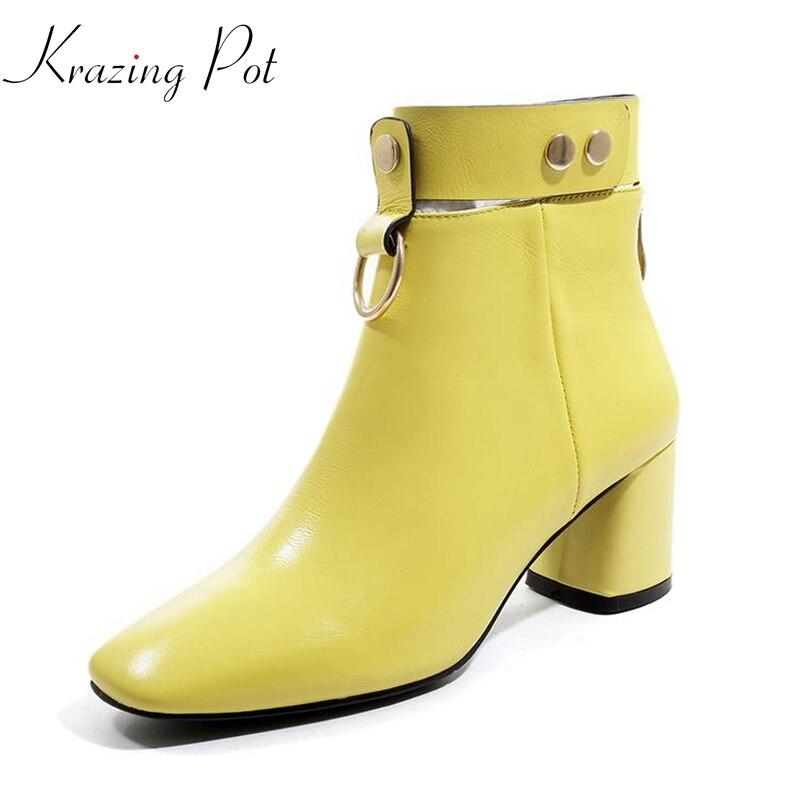 Véritable Ronde Carré Grande Jaune Cuir 2019 jaune Bottines Couleur School Streetwear L02 Bout Krazing Noir Pot Taille En British Boucle Rivets nkXN80wOP