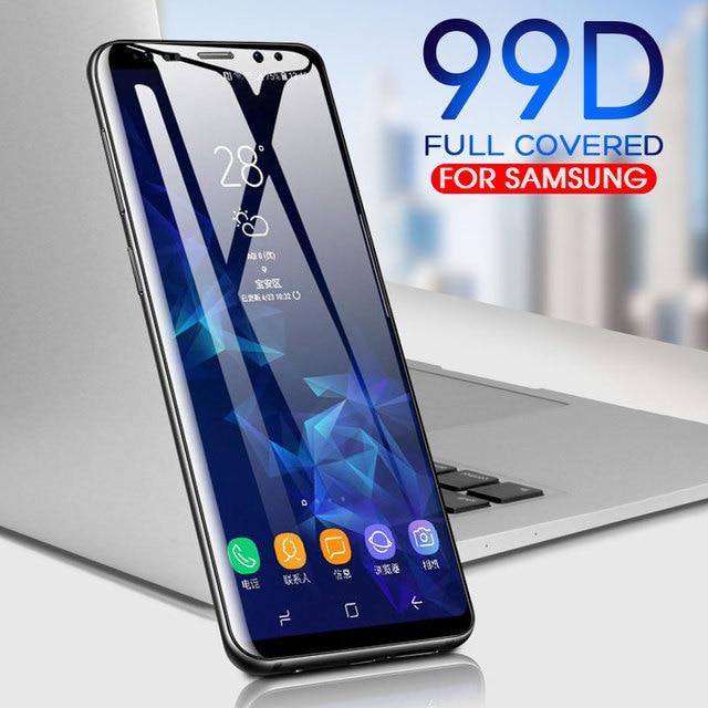99D زجاج مقسى منحني بالكامل لسامسونج جلاكسي S9 S8 بلاس نوت 8 9 واقي شاشة على S8 S9 S7 S6 Edge غشاء واقي