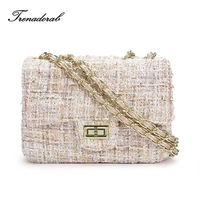 Winter New Crossbody Bag Woolen Brand Designer Flap Women Messenger Bag Chain Famous Luxury Shoulder Bag