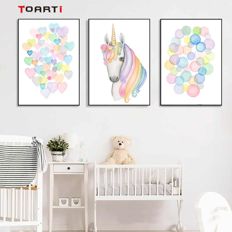 Unicorn horse nursery wall art canvas painting watercolor polka dot heart poster and print kids room baby girls room home decor