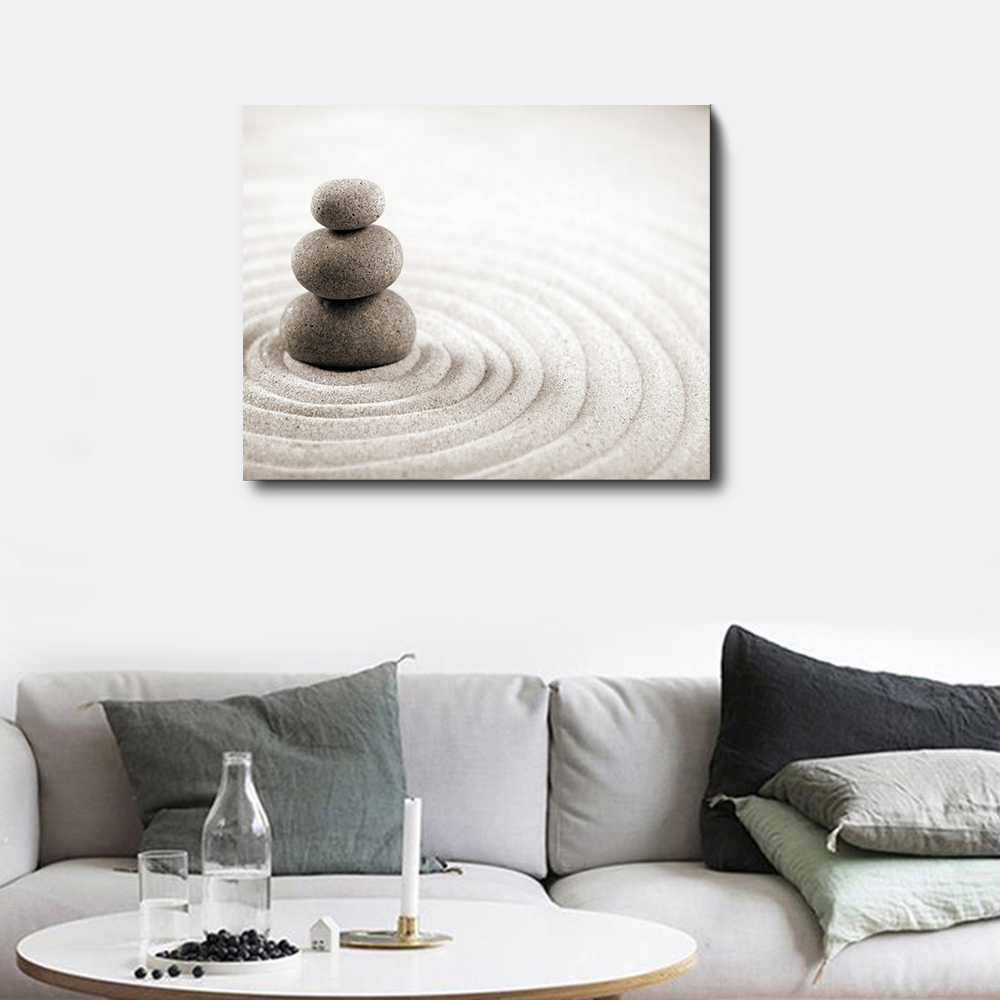 Laeacco Calligraphy Painting Sand Stone Posters and Prints Canvas Wall Artworkwork Living Room Decoration Home Decor