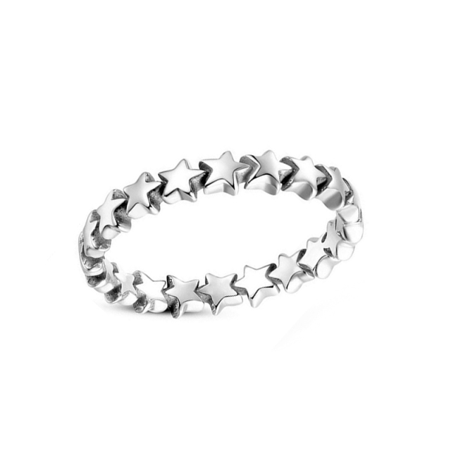 H:HYDE Hot Sale Silver Color Five-pointed Star Stackable Finger Ring For Women F