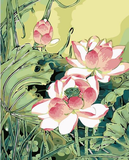 Pink lotus flower oil painting picture by numbers drawing coloring pink lotus flower oil painting picture by numbers drawing coloring by numbers diy drawing flowers water lily for room decoration in paint by number from mightylinksfo