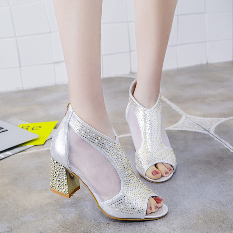 2018 New Fashion Women Sandals Bling 7cm High Heels Diamond Square Heel Summer Women Shoes Wedding Shoes Leather Sandalia Mujer in Women 39 s Pumps from Shoes