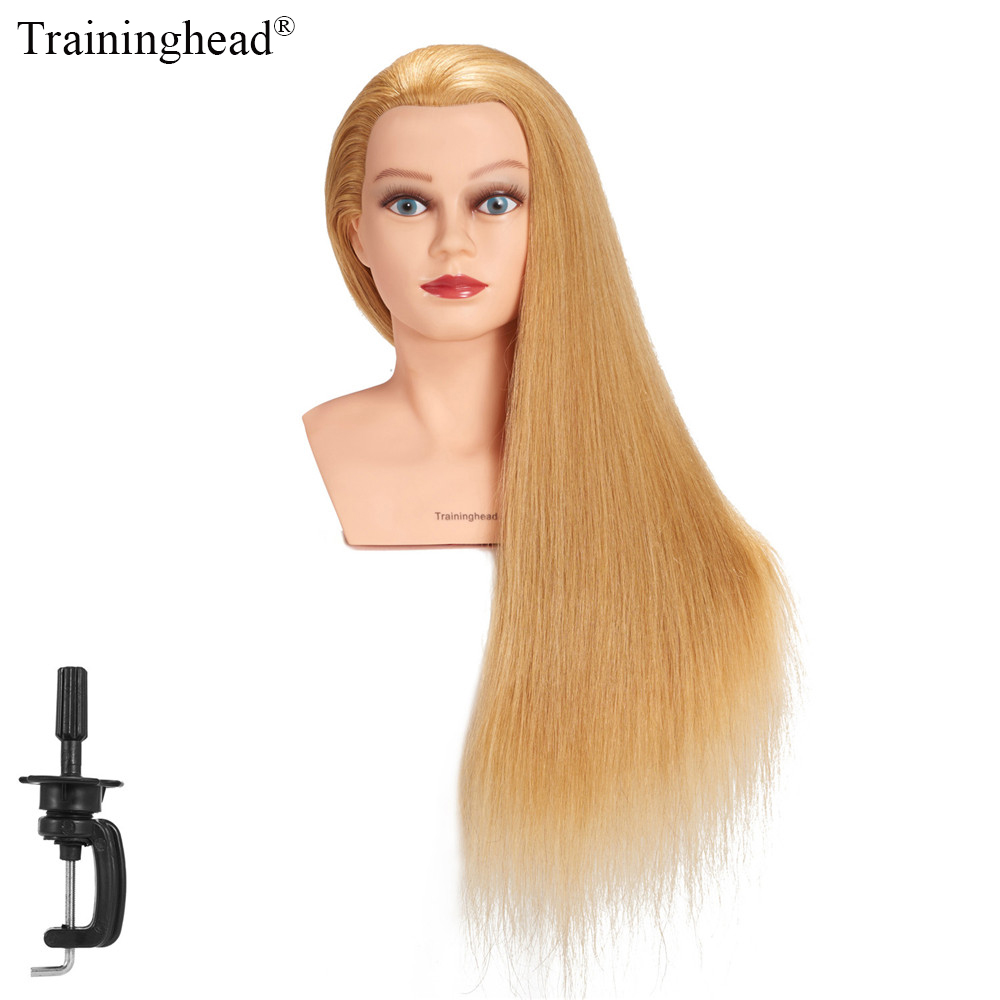 Traininghead 28 30 Mannequin Head 100 Human Hair Hairdresser Training Head Manikin Cosmetology Doll Head Clamp