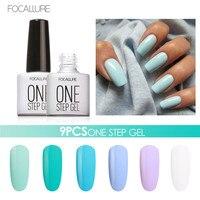 9PCS FOCALLURE One Step Nail Gel Polish Nail Art Design 3 In 1 Gel Varnishes UV