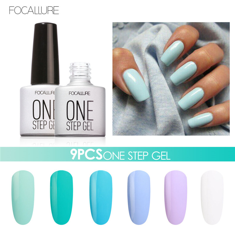 9PCS FOCALLURE One Step Nail Gel Polish Nail Art Design 3 in 1 Gel Varnishes UV Led Gel Polish