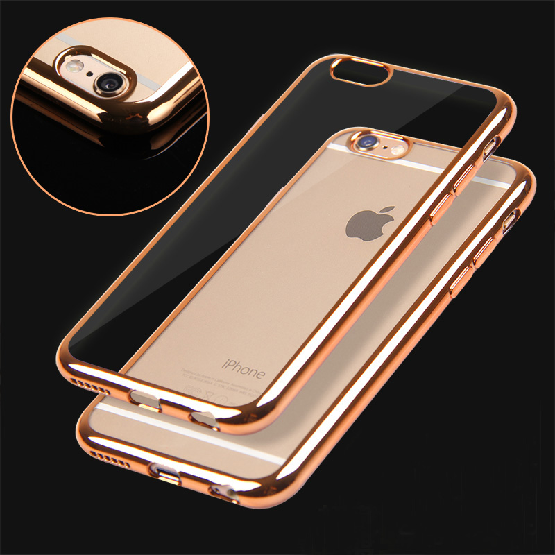 6S/6P Rose gold Ultra Thin Clear Crystal Rubber Plating Electroplating TPU Soft Mobile Phone Case For iPhone 6 6s Plus Cover bag