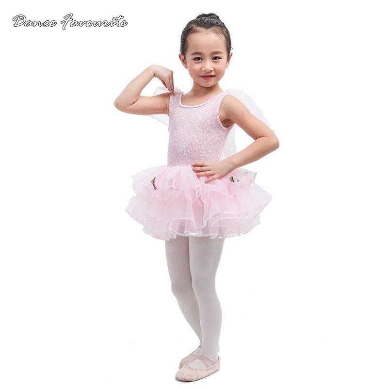 Danse préférée élégant rose sequin spandex ballet fille scène performance ballet tutu ballerine fille tutu