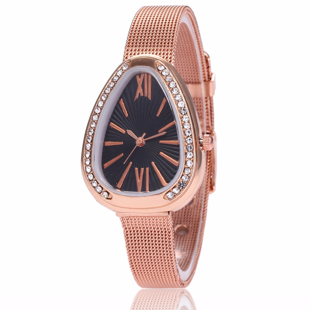 Dropshipping New Fashion Women Stainless Steel Rose Gold Mesh Watch Unique Simple Watches Casual Quartz Wristwatches Clock
