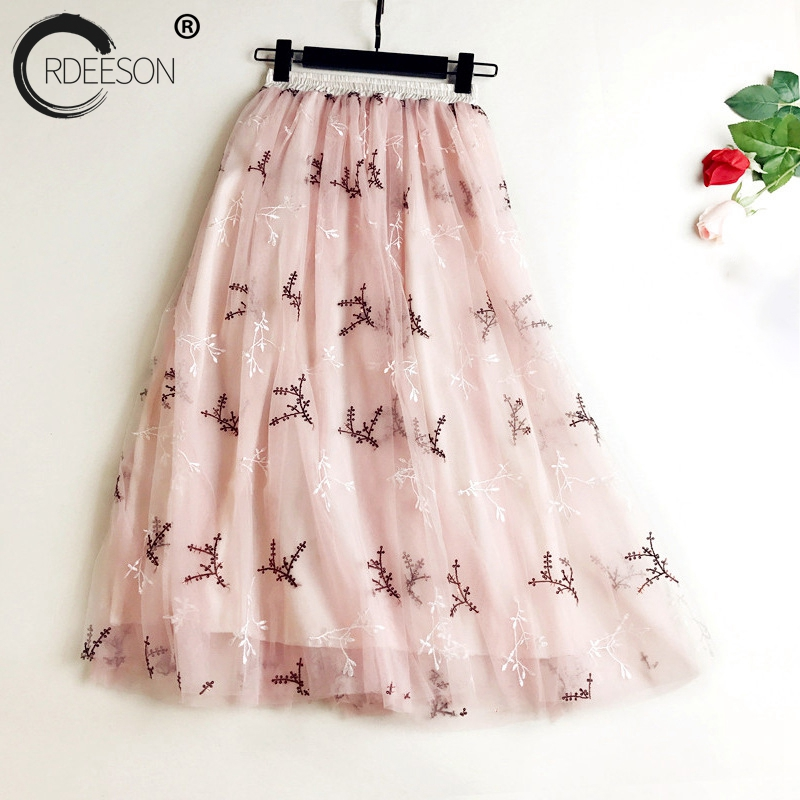 ORDEESON 68CM Lolita Embroidery Tutu Midi Tulle Skirt High Elasticity Pleated Skirts Korean Fashion Long Skirts for Women Mesh