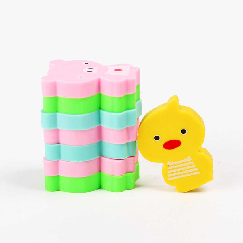 8 PCS Kawaii Frog Animals Mini Rubber Eraser Creative Korean Stationery School Supplies Gift For Kids