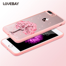 Lovebay Phone Case For iPhone 6 6s Plus Cartoon Cat Cherry Tree Pattern Hard Transparent Flowers For iPhone 6 6s Plus Back Cover