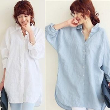 cotton linen comfort lapel Plus Size Spring loose long-sleeved white shirt female cardigan shirt female