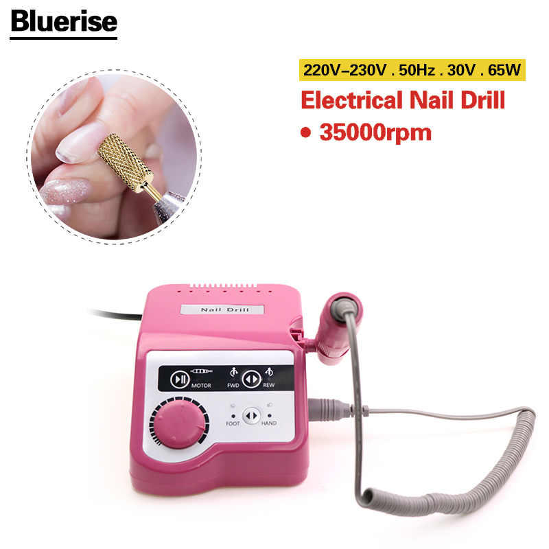 Bluerise 65W Nail Drill Nail Art Equipment EU Plug Manicure Tools Pedicure Acrylics Grey Electric Nail Drill Pen Machine Set nail art drill professional electric machine manicure pedicure pen tool set kit 30pcs nail art drill bit 300pcs sanding bands