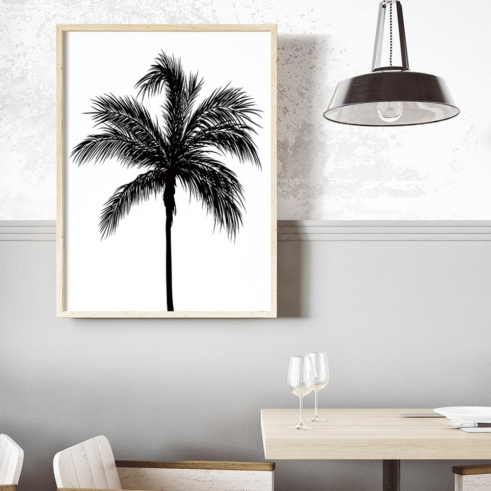 NUOMEGE Black White Coconut Tree Canvas Poster And Prints Minimalist Tropical Plant Wall Art Paintings Picture Living Room Decor in Painting Calligraphy from Home Garden
