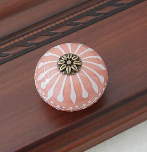 Керамическая ручка/ручки для комода белого и синего цвета, ручки для шкафа/уникальная ручка для кухонной двери, мебельная фурнитура - Цвет: Розовый