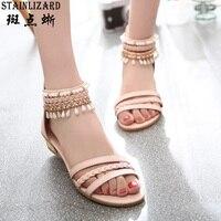 Sıcak Satış 2016 Yaz Kadın Sandalet Boş Peep Toe Takozlar Ayakkabı moda düz ayakkabılar Vahşi Rahat Bayanlar Sandalet DT141