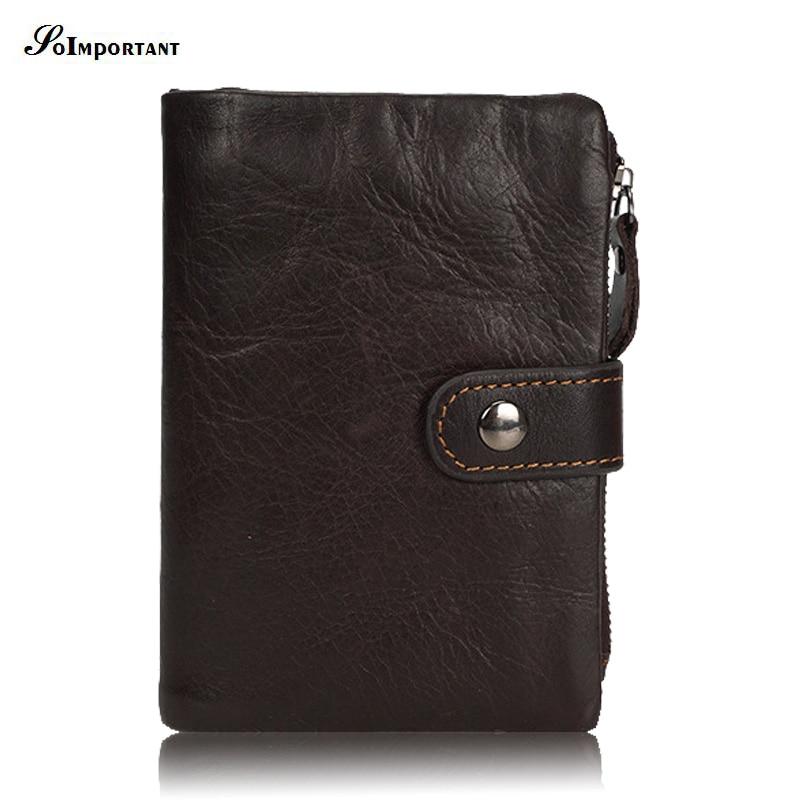 Luxury 100% Genuine Leather Men Wallet Small Zipper Men Walet Portomonee Male Short Coin Purse Brand Clutch Male Hasp Carteira