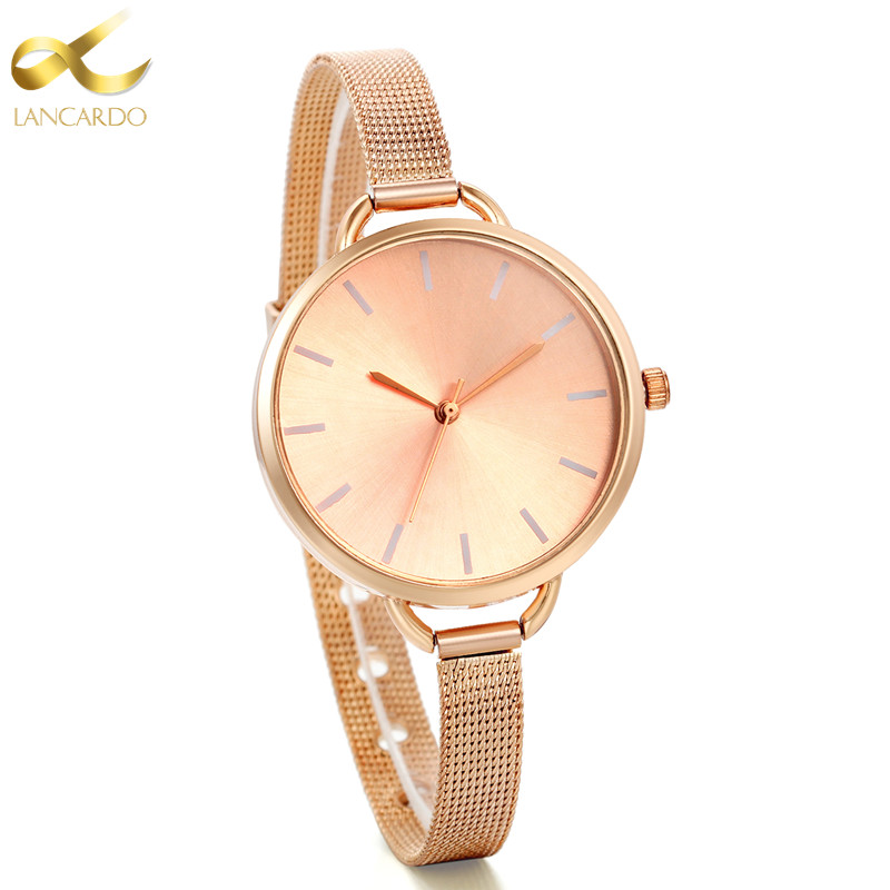 Lancardo Luxury Women Watch Ultrathin Rose Gold Quartz Watch Women Dress Watches Ladies Fashion Wristwatch Watches Relojes Mujer weiqin women watch brand luxury ceramic band rhinestone fashion watches ladies rose gold wrist watch quartz watch reloj mujer