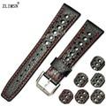 Zlimsn 20mm 22mm correas de reloj marrón negro de cuero genuino reloj de correa de la banda hombres mujeres para i-w-c relojes hombre iwc36