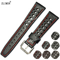 Zlimsn 20mm 22mm pulseiras brown black genuine leather assista banda strap homens mulheres para i-w-c iwc36 relojes hombre