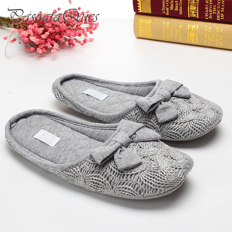 где купить Cute Bowtie Warm Winter Women Home Slippers For Indoor Bedroom House Soft Bottom Shoes Adult Gusets Flats Christmas Gift по лучшей цене