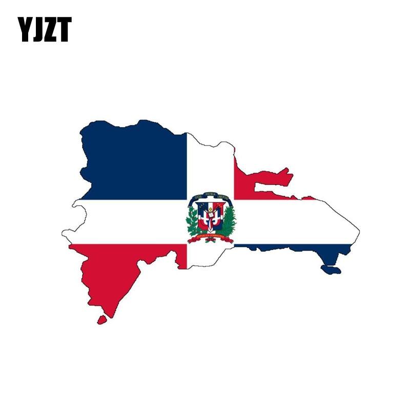 YJZT 13.2CM*9CM Dominican Republic Flag Map Car Sticker Body Helmet Decal 6-0887